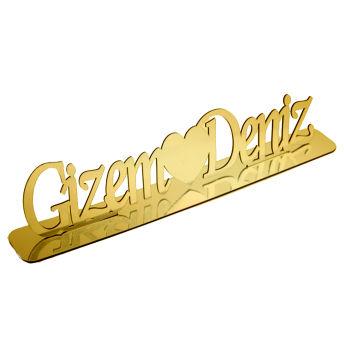 Kişiye Özel Standlı Pleksi Ayna İsimlik Gold 50cm