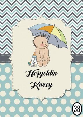 Kişiye Özel Tasarım Baby Shower Ayaklı Karşılama Panosu 32x48cm - Thumbnail