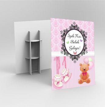 Kişiye Özel Tasarım Baby Shower Ayaklı Karşılama Panosu 32x48cm