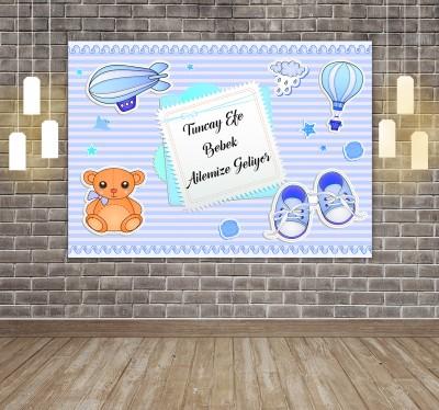 Diğer - Kişiye Özel Tasarım Yapışkanlı Baby Shower Afişi 50x70cm