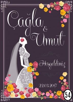 Kişiye Özel Tasarım Yapışkanlı Söz ve Nişan Töreni Karşılama Afişi 50x70cm - Thumbnail