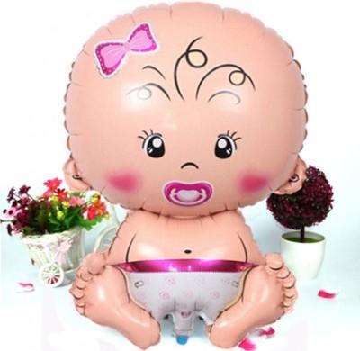 Diğer - Kız Bebek Figürlü Kendin Şişir Uçan Folyo Balon Pembe