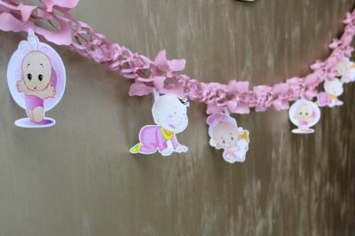 Diğer - Kız Bebek Hoşgeldin Partisi Akordiyon Süsleme Kağıdı Pembe