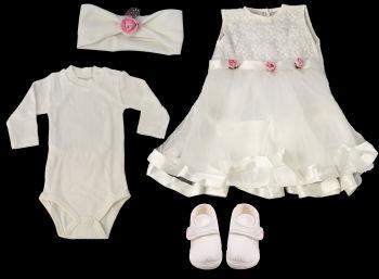 Kız Bebek Pembe Çiçekli Mevlüt Takımı 4 Parça