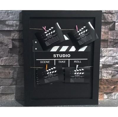 Diğer - Klaket Tasarımlı İpli ve Mandallı Fotoğraf Çerçevesi 44x35cm