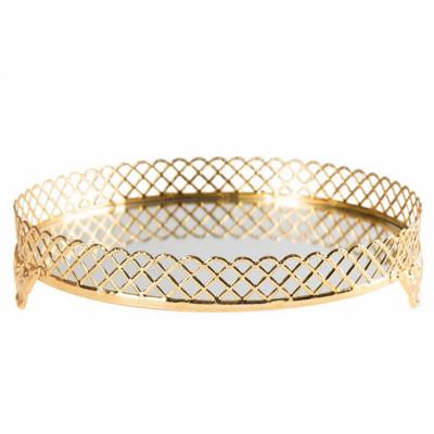 Diğer - Klasik Tasarım Aynalı Jardinyer Tepsi Gold 25cm