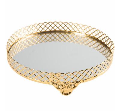 Diğer - Klasik Tasarım Aynalı Jardinyer Tepsi Gold 30cm
