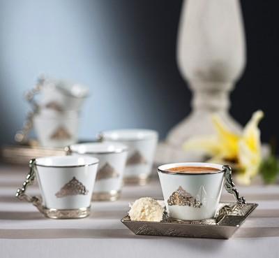 Diğer - Klasik Tasarım Kare Tabaklı 6lı Kahve Fincan Takımı Gümüş
