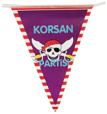 Diğer - Korsan Partisi Yazılı Üçgen Flama Bayrak