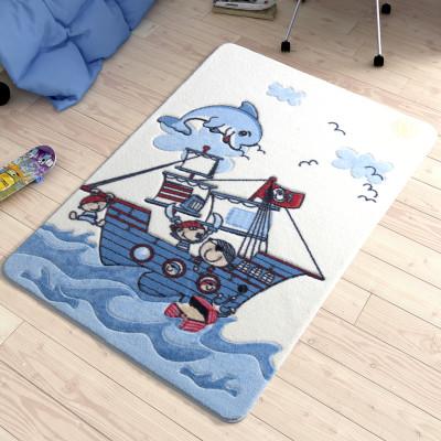 Diğer - Korsanlar ve Yunus Desenli Çocuk ve Bebek Odası Halısı Mavi 100x150cm