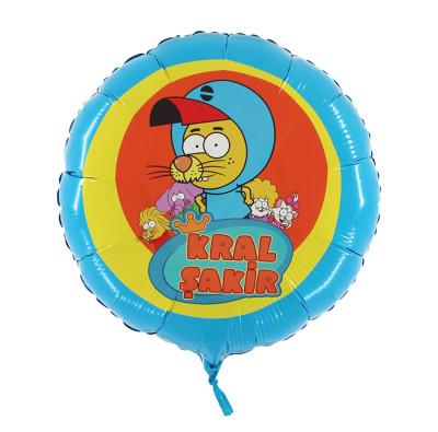 Diğer - Kral Şakir Action Temalı Yuvarlak Folyo Balon 45cm