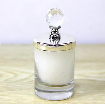 Kristal Kapaklı Cam Bardak Mum 8,5cm Gümüş - Thumbnail