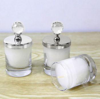 Kristal Kapaklı Cam Bardak Mum 8,5cm Gümüş