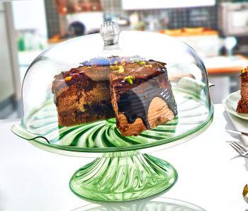 Kristal Kulplu Ayaklı Pasta ve Kek Fanusu
