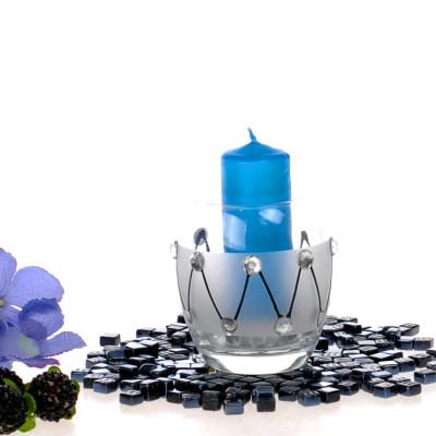 Diğer - Kristal Süslemeli Yuvarlak Cam Tealight Mumluk