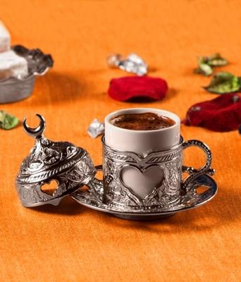 Diğer - Kubbe Kapaklı Kalp Motifli Türk Kahvesi Fincanı Gümüş