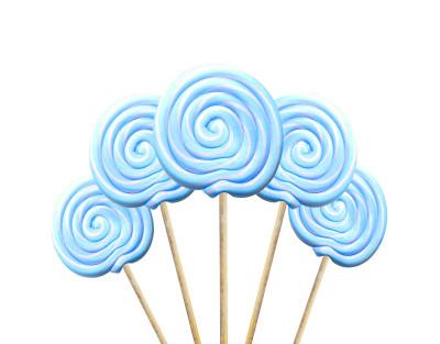 Diğer - Küçük Yuvarlak Çubuklu Lolipop Sosyete Şekeri Mavi Beyaz 5 Adet