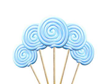 Küçük Yuvarlak Çubuklu Lolipop Sosyete Şekeri Mavi Beyaz 5 Adet