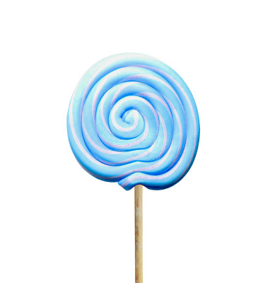 Küçük Yuvarlak Çubuklu Lolipop Sosyete Şekeri Mavi Beyaz 5 Adet - Thumbnail