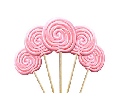 Diğer - Küçük Yuvarlak Çubuklu Lolipop Sosyete Şekeri Pembe Beyaz 5 Adet
