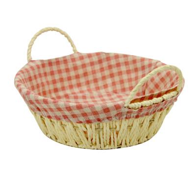 Diğer - Kulplu Desenli Kumaşlı Yuvarlak Hasır Ekmek Sepeti