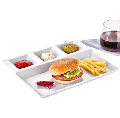 Külsan - Külsan Thermoset 4 Bölmeli Kahvaltılık ve Burger Tabağı