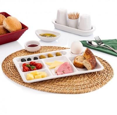 Külsan - Külsan Thermoset 6 Bölmeli Kahvaltılık Self Servis Tepsi