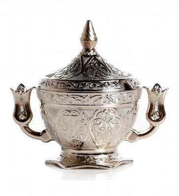 Diğer - Lale Kulplu Osmanlı Motifli Kapaklı Şekerlik Gümüş
