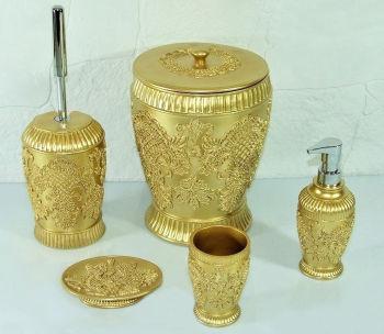 Lalezar Nakışlı Lüks Banyo Seti 5 Parça Gold