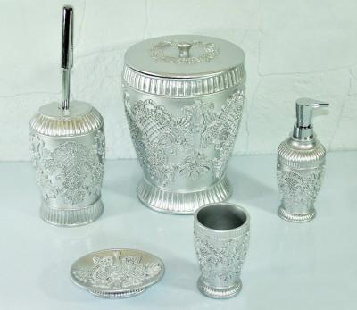 Diğer - Lalezar Nakışlı Lüks Banyo Seti 5 Parça Gümüş