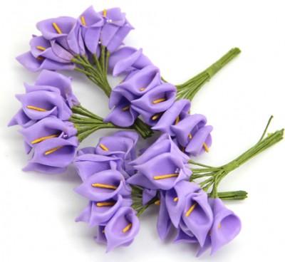 Lateks Çiçek Lale 100 Adet Mor-Sarı - Thumbnail