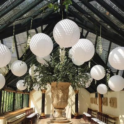 Diğer - Led Işıklı Kağıt Akordeon Süs Japon Feneri Beyaz