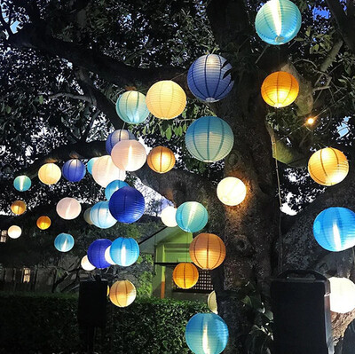 Diğer - Led Işıklı Kağıt Akordeon Süs Japon Feneri Mavi