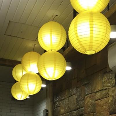 Diğer - Led Işıklı Kağıt Akordeon Süs Japon Feneri Sarı