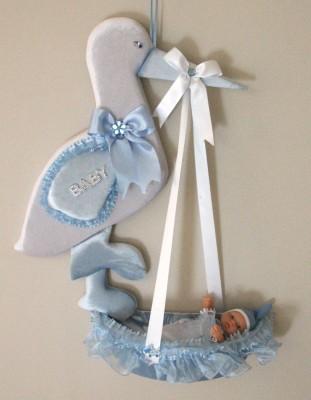 Diğer - Leylekli Sepet İçerisinde Erkek Bebek Kapı Süsü Mavi