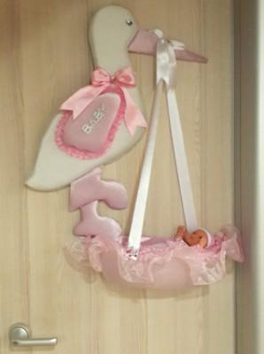 Diğer - Leylekli Sepet İçerisinde Kız Bebek Kapı Süsü Pembe