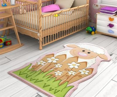 Confetti - Little Sheep Koyun Desenli Çocuk ve Bebek Odası Halısı Pembe 80x150cm