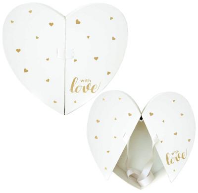 Diğer - Love Açılır Kapaklı Kalp Hediye Kutusu Beyaz