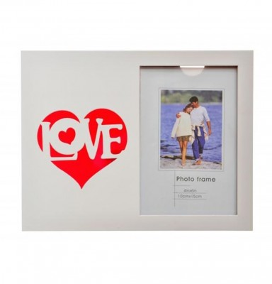 Decotown - Love Kalp Baskılı Dekoratif Ahşap Fotoğraf Çerçevesi