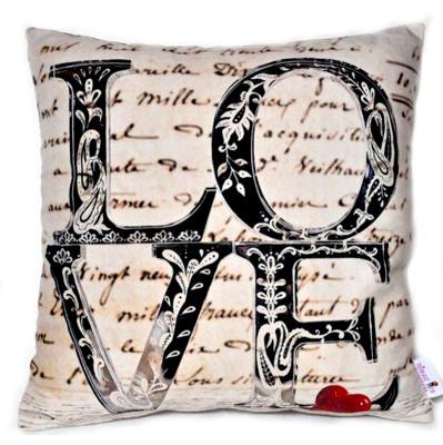 Diğer - Love Yazılı Dekoratif Kırlent Kılıfı 43cm