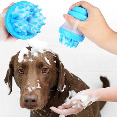 Diğer - Masaj Yapan Şampuan Hazneli Köpek Yıkama Fırçası