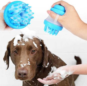 Masaj Yapan Şampuan Hazneli Köpek Yıkama Fırçası