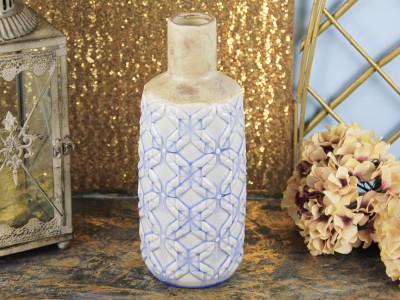 Diğer - Mavi Desenli Dar Ağızlı Seramik Vazo 33cm