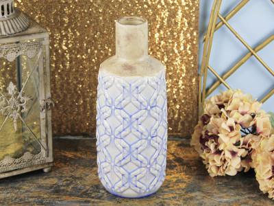 Diğer - Mavi Desenli Dar Ağızlı Seramik Vazo 40cm