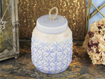 Diğer - Mavi Desenli Kapaklı Seramik Obje 19cm