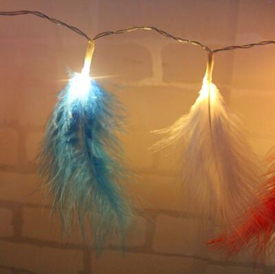 Diğer - Mavi Kuş Tüyü Led Dekor Işığı 2 Metre