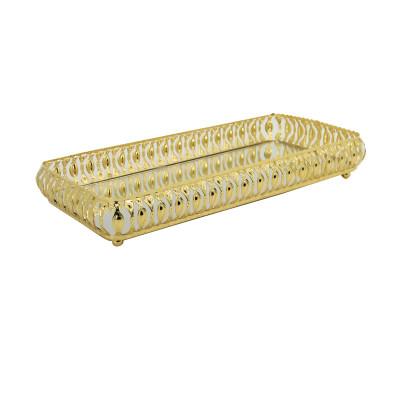 Diğer - Meltem Aynalı Dikdörtgen Jardinyer Tepsi Gold 30cm