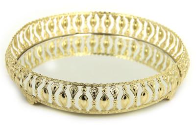 Diğer - Meltem Aynalı Yuvarlak Jardinyer Tepsi Gold 30cm