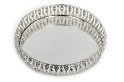 Diğer - Meltem Aynalı Yuvarlak Jardinyer Tepsi Gümüş 25cm