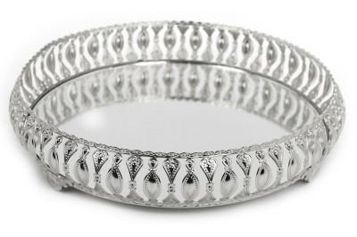 Diğer - Meltem Aynalı Yuvarlak Jardinyer Tepsi Gümüş 30cm